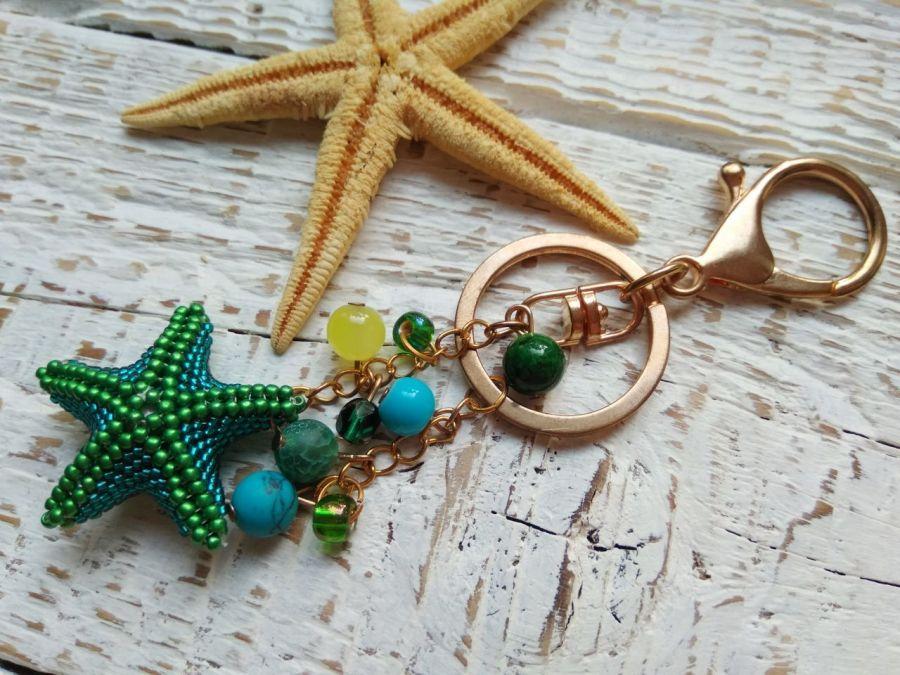 zielona rozgwiazda- breloczek do torebki