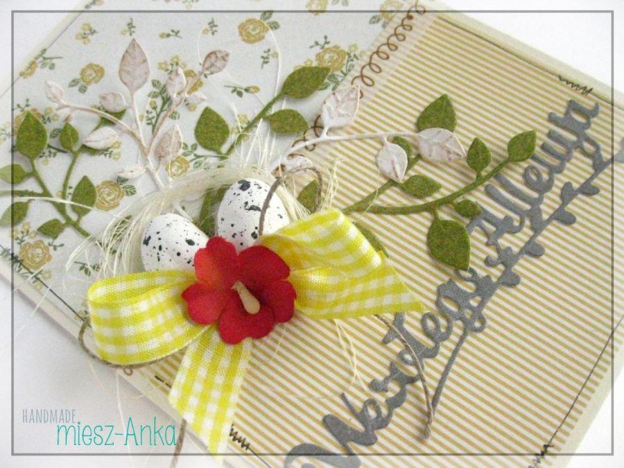 Kartka wielkanocna z jajeczkami