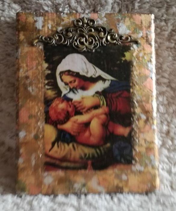 Ikona z wizerunkiem Matki Bożej Karmiącej - Dekoracje ścienne HANDMADE