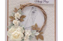 Kartka ślubna z wiankiem i różami - jasna