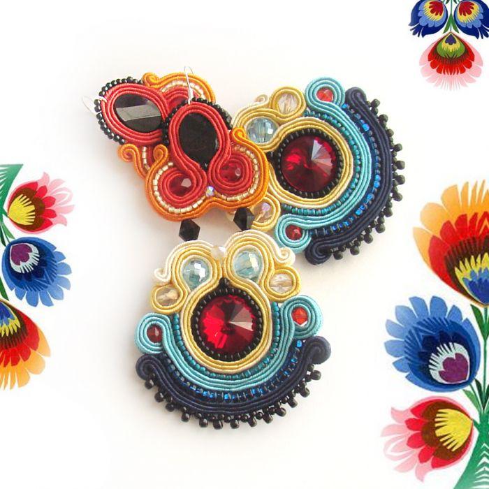 Sutaszowe kolczyki w kolorystyce folk