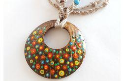 4900 naszyjnik ręcznie malowany kokosowy