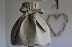 Abażur lniany z haftem duży