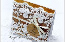 Zaproszenie VINTAGE z białą koronką