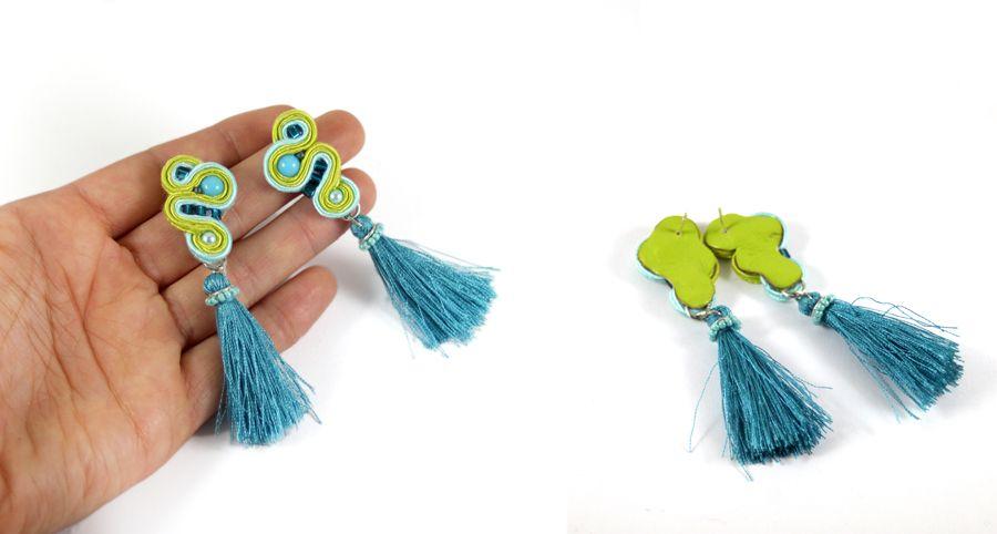 """Kolczyki """"ASPAZJA"""" z sutaszu - Więcej zdjęć mozna obejrzeć tu: http://soutache-earrings.blogspot.com/2016/11/earrings-87-aspazja.html"""
