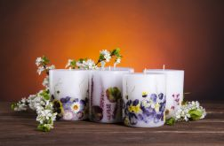 Dla Mamy-świeca z naturalnymi kwiatami-bratki
