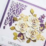Kartka NA URODZINY kremowo-fioletowe róże - Kartka urodzinowa z różami