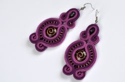 Kolczyki fioletowe ze ślimaczkami