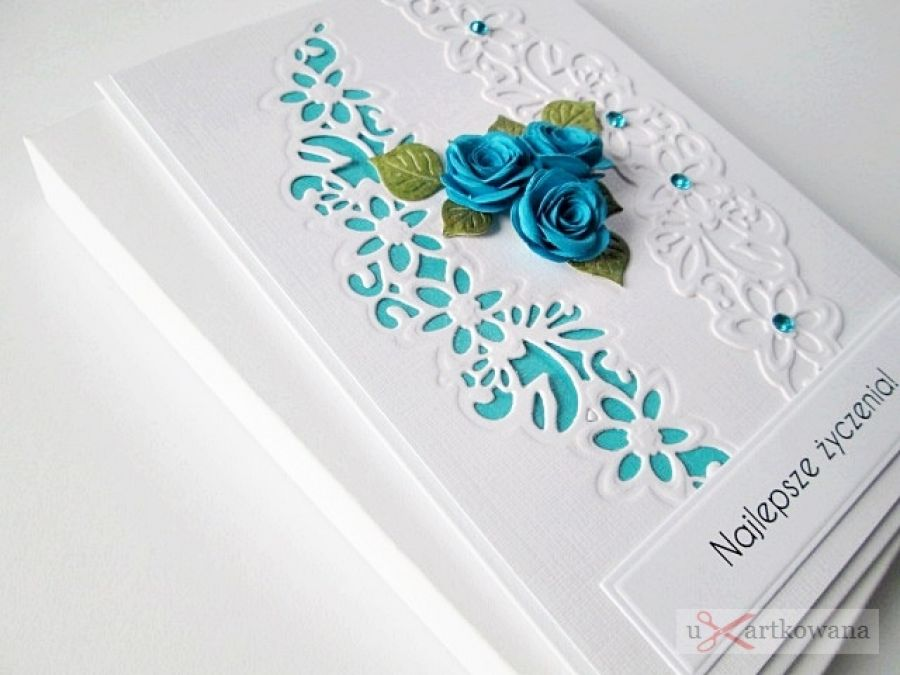 Kartka UNIWERSALNA biało-turkusowa