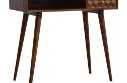 biurko drewno konsola z rzeźbioną szufladą
