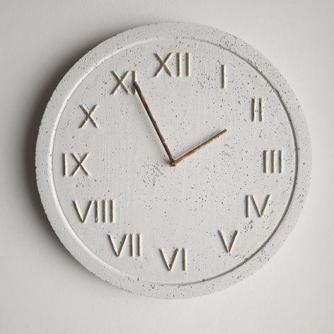 Zegar Ścienny Betonowy Roman Biały Złoty