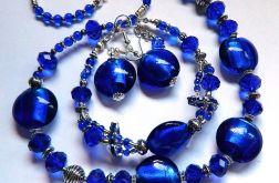 Kobaltowe szkło weneckie i kryształ, komplet