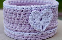 Koszyczek ze sznurka Pimo lilac z serduszkiem