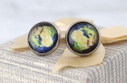 Kolczyki wkrętki Ziemia Mapa