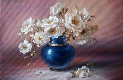 Białe Róże w niebieskim Wazonie, obraz olejny ręcznie malowany