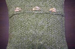 Poszewka robiona na drutach - zielona