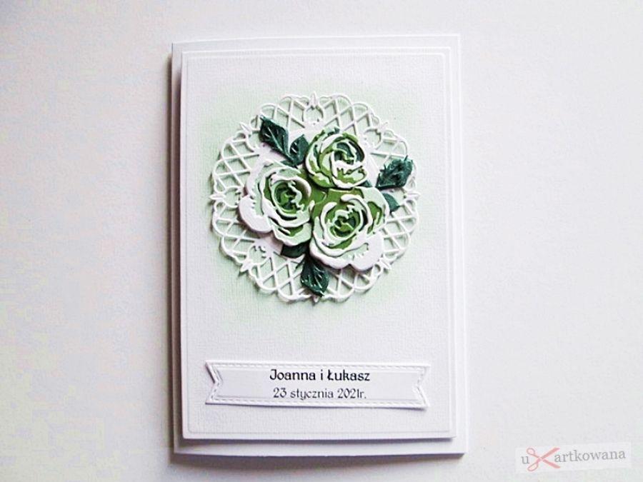 Kartka ŚLUBNA - zielone róże - Kartka Ślubna - zielone róże
