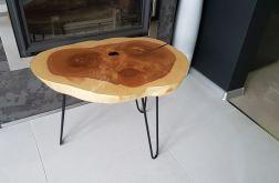 Stolik kawowy drewniany jesion żywica