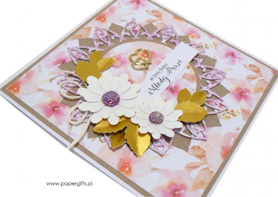 Kartka ślubna białe i pastelowe kwiaty
