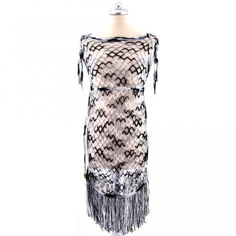 ażurowa tuniko-sukienka z frędzlami