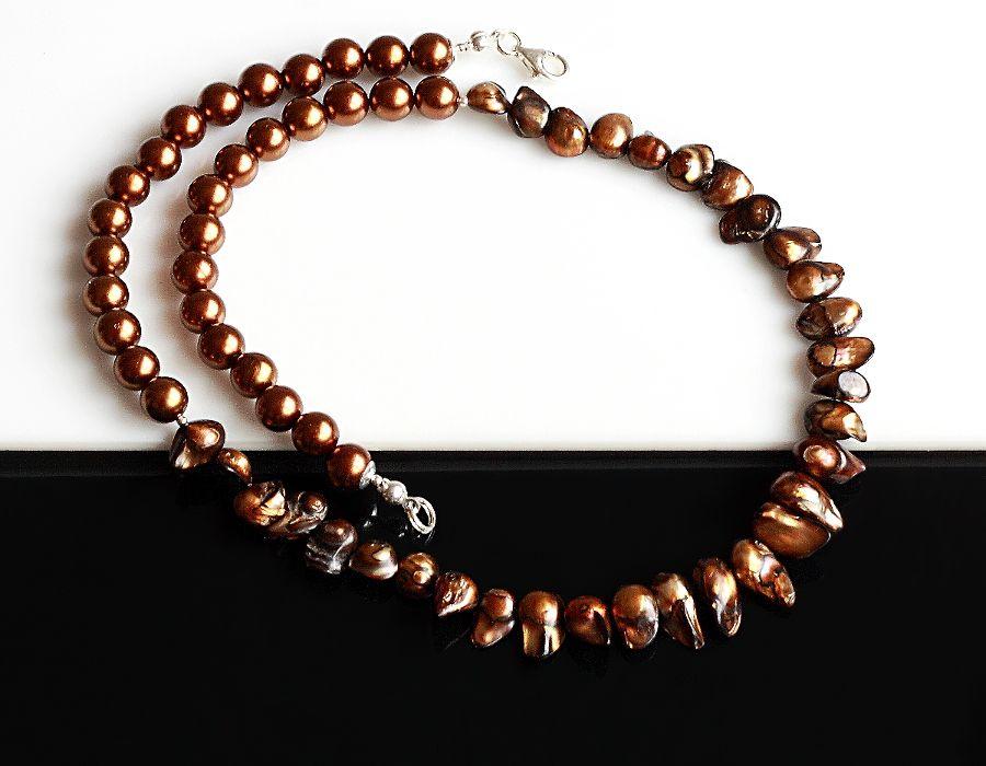 Brązowe perły - naszyjnik - brązowy naszyjnik
