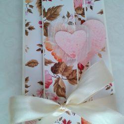 kartka  z kwiatami i sercami,  składana