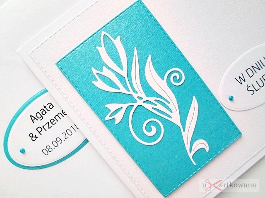 Kartka W DNIU ŚLUBU biało-turkusowa #1