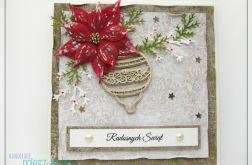 Kartka świąteczna z brokatową bombką 1