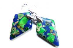 Niebiesko-zielony jaspis cesarski, kolczyki