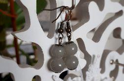 Kolczyki handmade 2 małe jasnoszare kuleczki