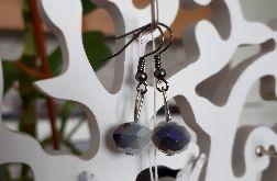 Kolczyki handmade szaro-białe kryształki duże