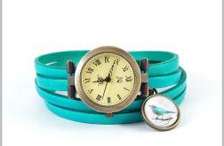 Bransoletka, zegarek - Turkusowy ptaszek - skórzany, antyczny brąz
