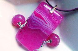 Różowe agaty i srebro, uroczy zestaw biżuteri