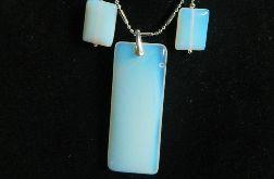 Opal biały mleczny, prostokąty w srebrze