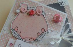 KARTKA z różowym body dla dziewczynki