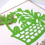 Kartka wielkanocna - koszyczek zielony nr 1 - motylek 3D