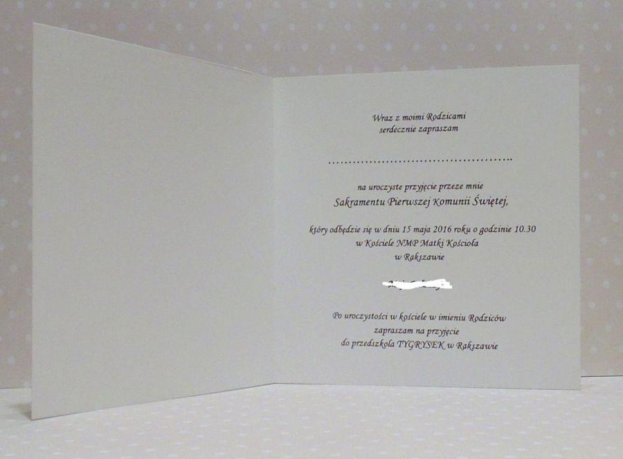 I Komunia Święta - zaproszenie - chłopiec - Przykładowy tekst
