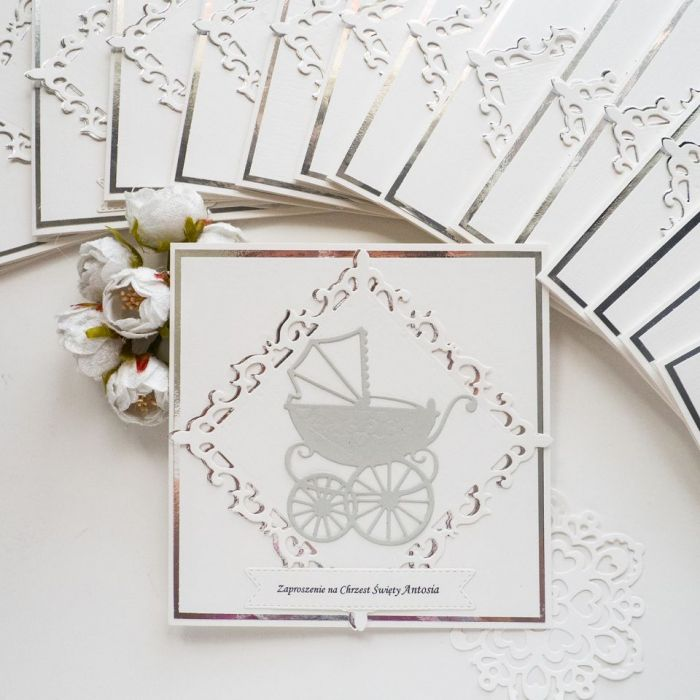 Zaproszenia na chrzest - wózek - wózek, dekoracje na chrzest