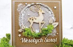 Kartka świąteczna z reniferem śnieg BNR 028