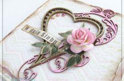 Delikatna kartka na Ślub z sercem i różą