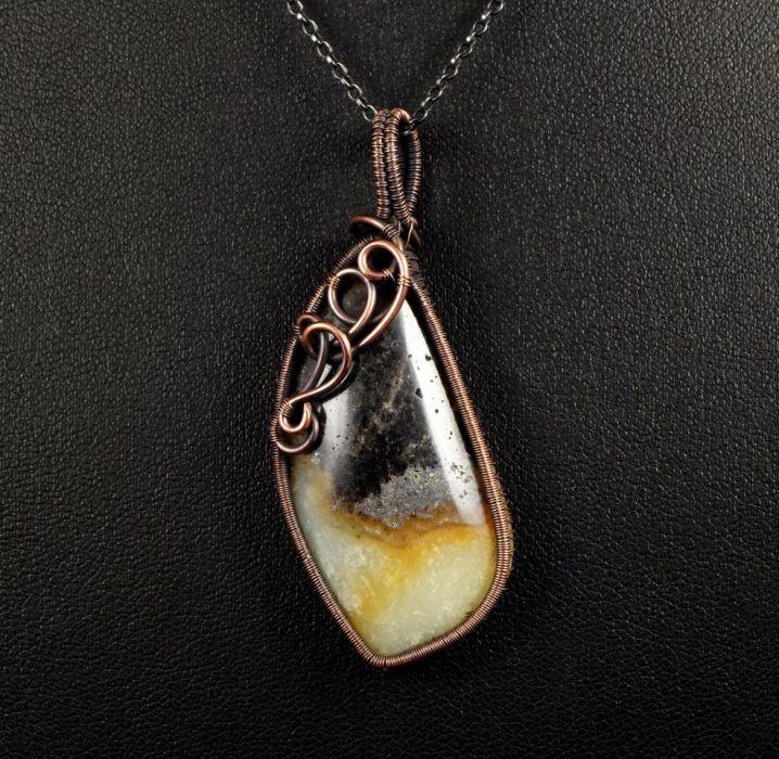 Miedziany wisior z amazonitem z jaspisem - miedziany wisior wire wrapped z amazonitem