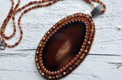 Wisior z plastrem agatu - brązowy