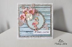 Kartka na Urodziny z kwiatami i flamingiem