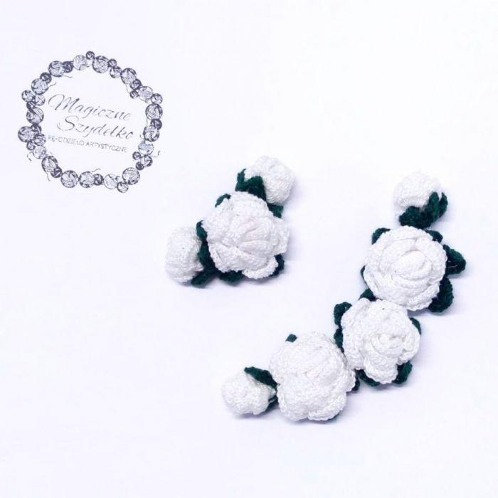 Wianek z szydełkowymi różyczkami - Szydełkowe różyczki