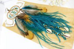 Kolczyki z piórami i łapaczem snów etniczne boho