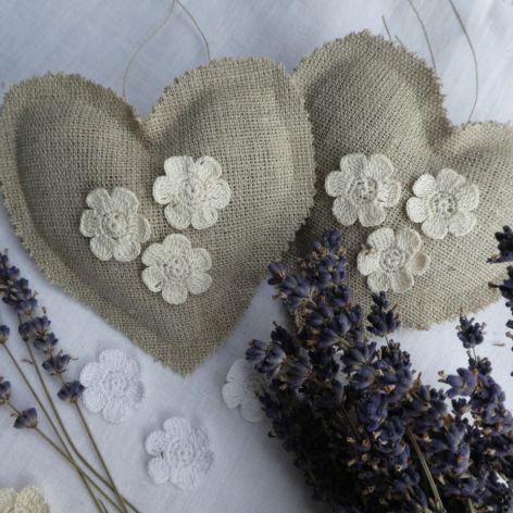 Lniane serce z lawendą koronkowe kwiatuszki