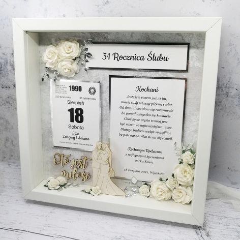 Piękna ramka 3D na rocznicę i ślub PRS 026