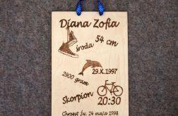 drewniana metryczka obrazek 21x30cm