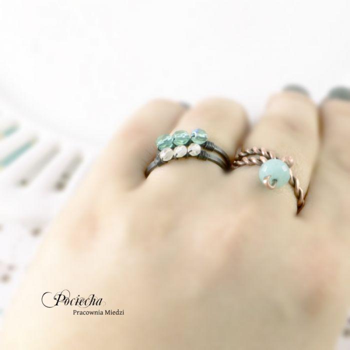 Morski - pierścionek ze szkłem