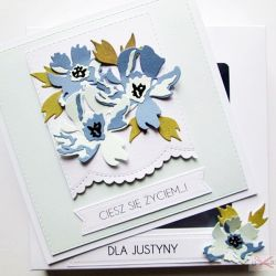 Kartka UNIWERSALNA z niebieskimi kwiatami